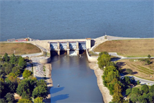 The U.S. Army Corps of Engineers St. Louis District began increasing releases from Carlyle Lake, Ill., Dec. 15, 2012, in support of safe navigation on the Mississippi River. Carlyle Lake is a multipurpose project located along the Kaskaskia River in Southern Illinois, providing flood damage reduction, recreation, water supply, downstream navigation and fish and wildlife conservation.