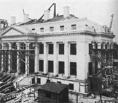 The headquarters building of the American Red Cross, located at 430 17th Street, NW, in Washington, D.C., is an impressive classical structure. Now designated a National Historic Landmark, it was designed by architects Breck Trowbridge and Goodhue Livingston. The interior contains a number of notable features, including sculptural artwork and three large Tiffany stained glass windows in what is now the Board of Governors Hall. Though this building is well known, it is less known that the U.S. Army Corps of Engineers was in charge of its construction and that the building was conceived as a memorial to the women of the Civil War.