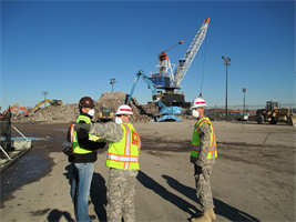 The Army Corps oversees debris operations at Fresh Kills Park in Staten Island, N.Y., where debris removed from private and public property is temporarily stored before being hauled to long-term storage sites. The U.S. Army Corps of Engineers provided debris removal assistance after Hurricane Sandy as part of a FEMA mission assignment.