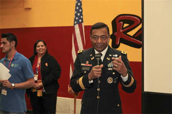 U.S. Army Corps of Engineers Commanding General Lt. Gen. Thomas P. Bostick, delivers last minute instructions to science, technology, engineering and mathematics, or STEM, students at Roosevelt High School in Los Angeles, Jan. 18, 2013. Bostick and Deputy Commanding General for Civil and Emergency Operations Maj. Gen. Michael J. Walsh, South Pacific Division Commander Brig. Gen. Michael C. Wehr and his district commanders, visited the school during Great Minds in STEM's Viva Technology Day.