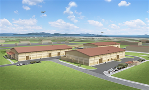 An artist's rendering of the new maintenance complex at Kunsan Air Base completed by the U.S. Army Corps of Engineers Far East District. Leaders and representatives from Kunsan Air Base cut the ribbon on the final phase of the complex Dec. 18. This new complex consolidates maintenance facilities which were spread out over the air base.