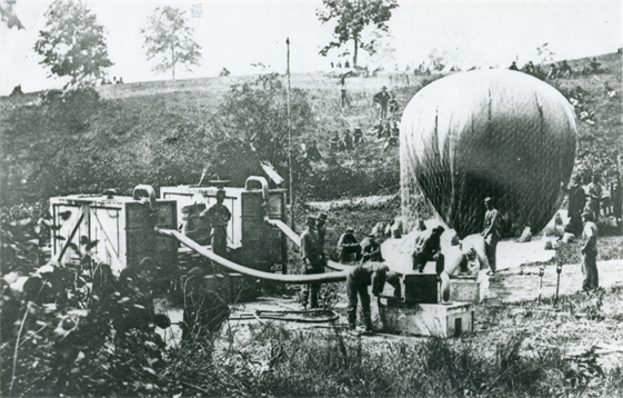 "The Federal Observation Balloon ""Intrepid,"" operated by the Topographical Engineers, being inflated for use in the Battle of Fair Oaks, Henrico County, Virginia, 1862."