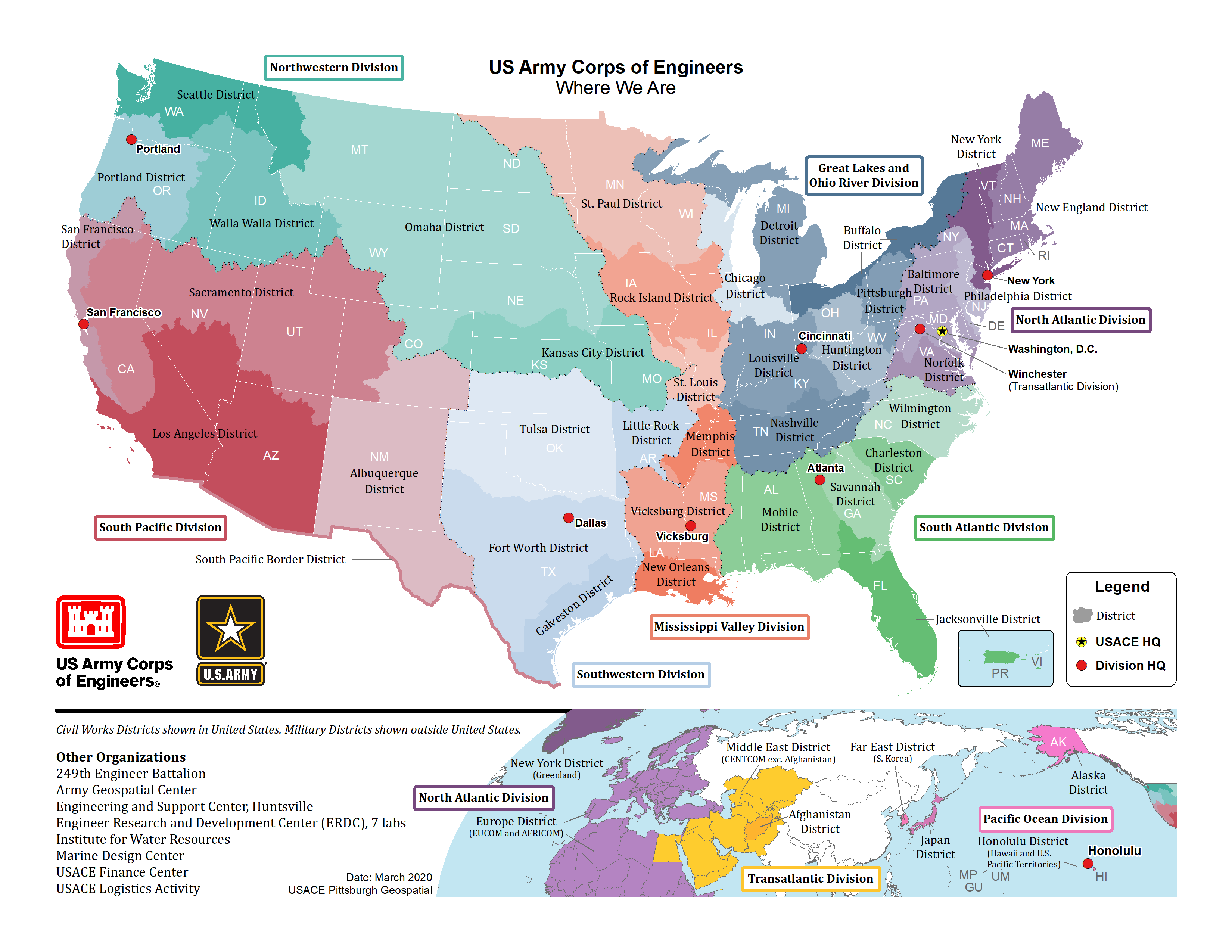 USACE Locations Map - Click on map to find your local USACE District