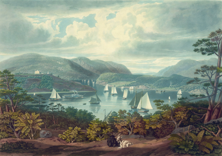 Painting of river with boats at West Point, NY