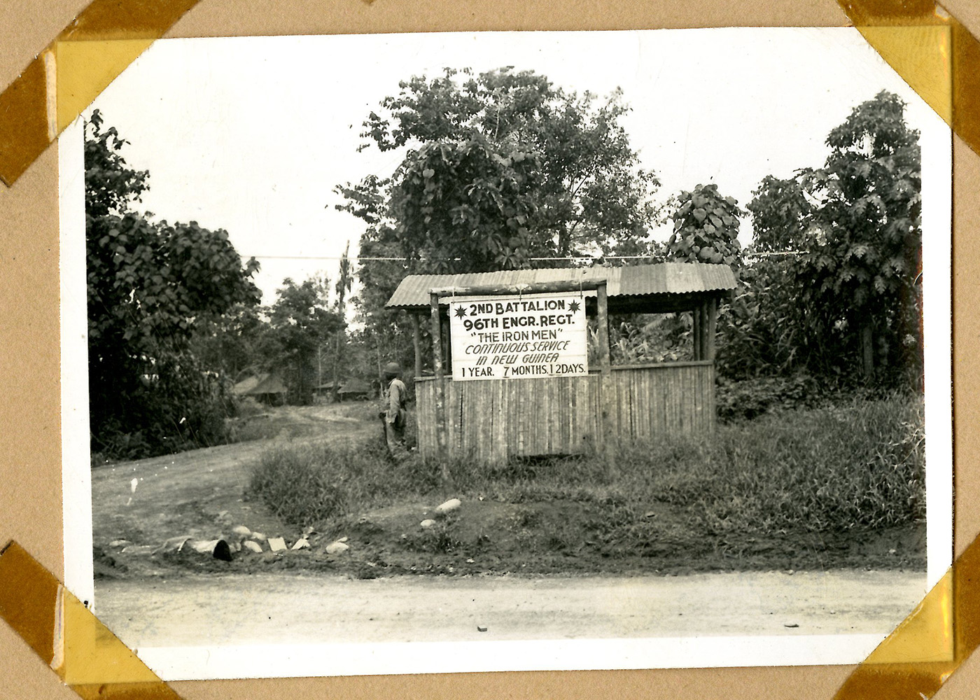 small shack with a sign about the 96th Engineer Regiment