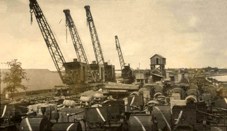 Cranes at an army depot in France