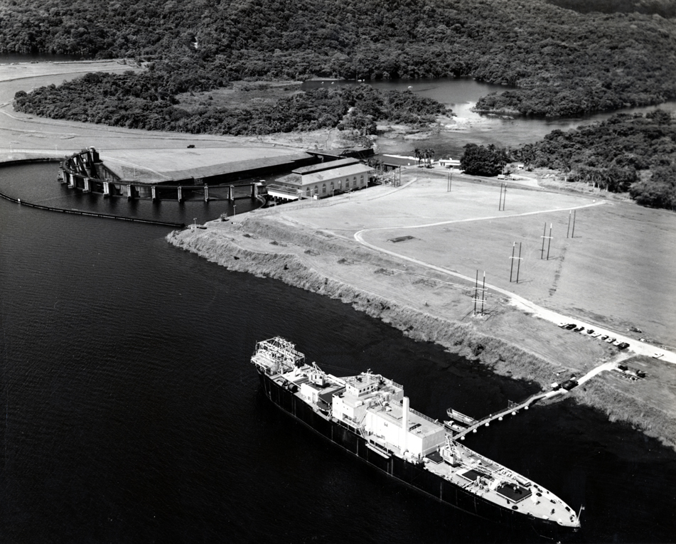 aerial view of ship docked in canal