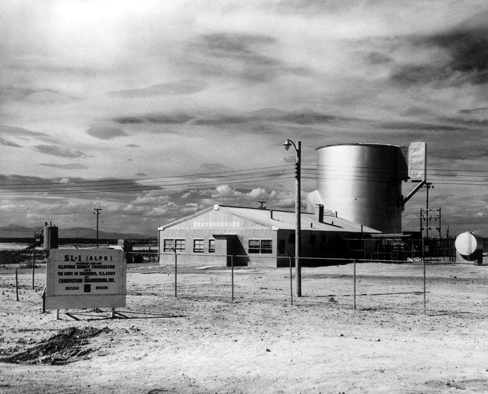 nuclear reactor in field with sign