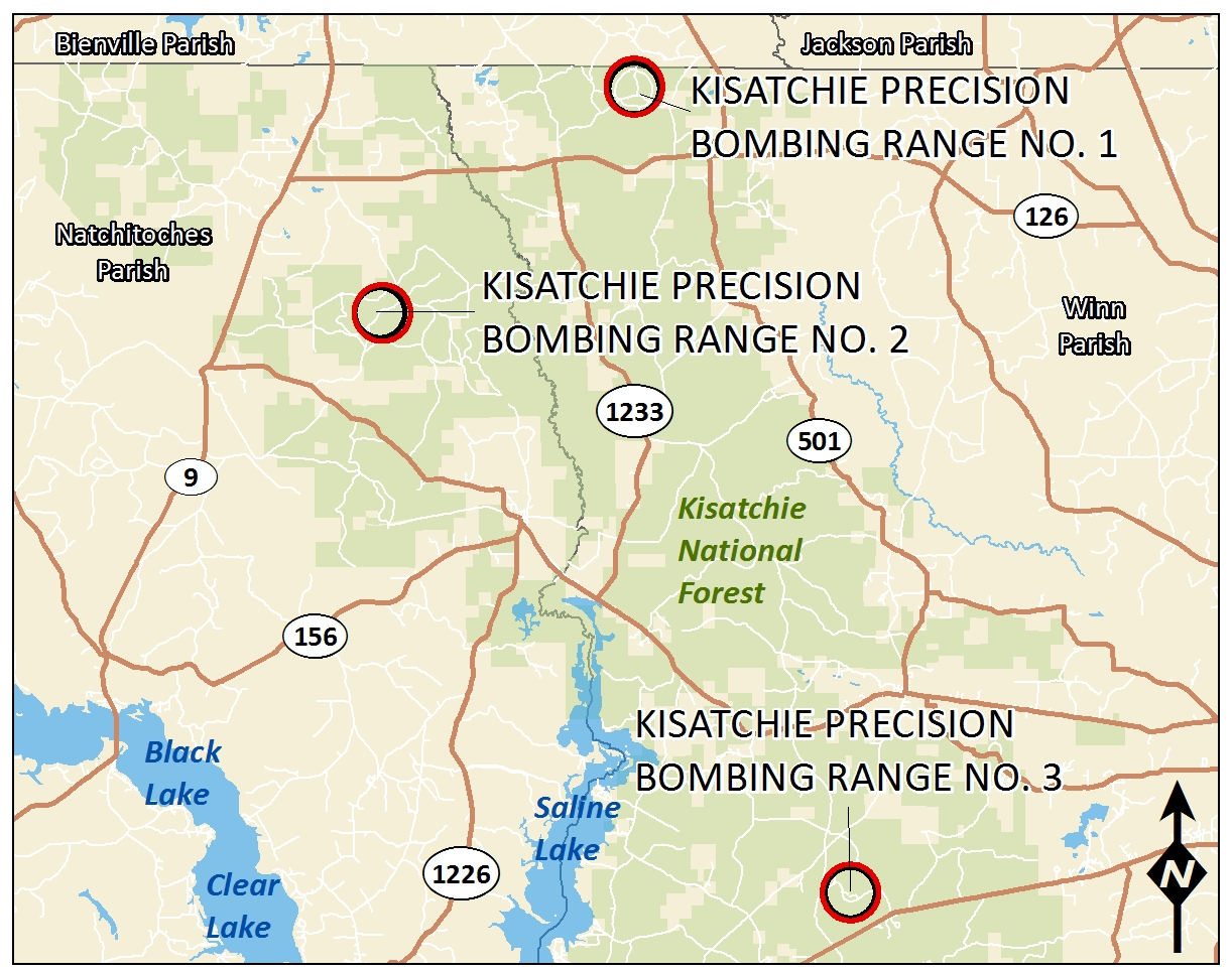 Image map of Kisatchie Precision Bombing Range No.1, 2 and 3.