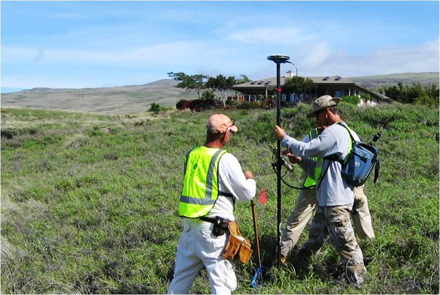 Three workers take samples to check for possible contamination at a formerly used defense site in Hawaii. Potential FUDS properties are found in all 50 states.