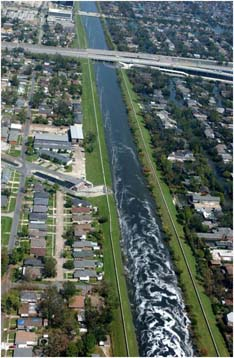 Two parallel levees in an urban setting.