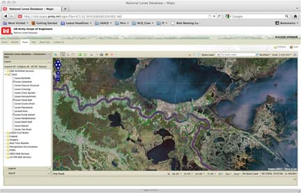 Screenshot from the National Levee Database