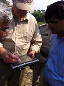 Demonstration of an inspection tablet used by USACE.