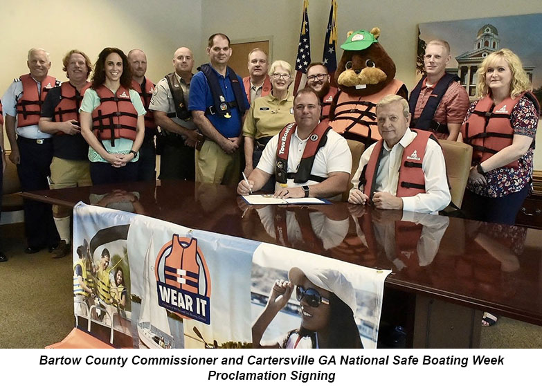 Bartow County Commissioner and Cartersville GA National Safe Boating Week Proclamation Signing