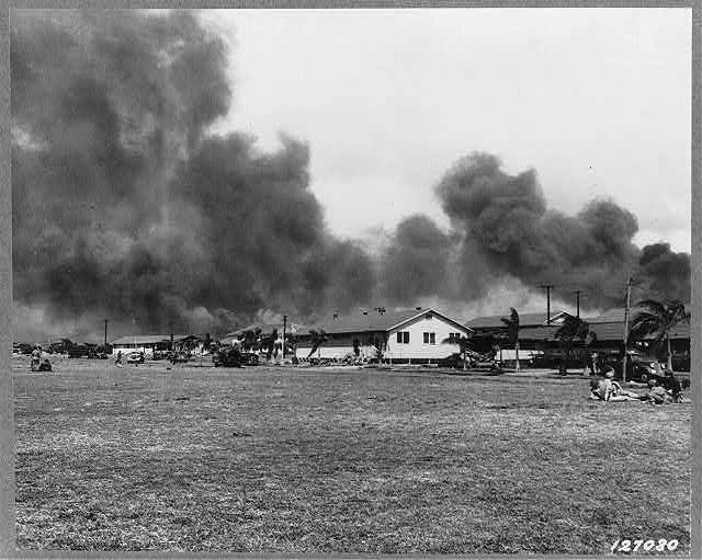 One of the first images of Hickam Field after the bombing on 7 Dec 1941